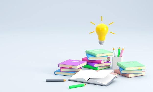 Uma pilha de livros aprendendo a lápis indica que uma lâmpada de história educacional representa uma ideia