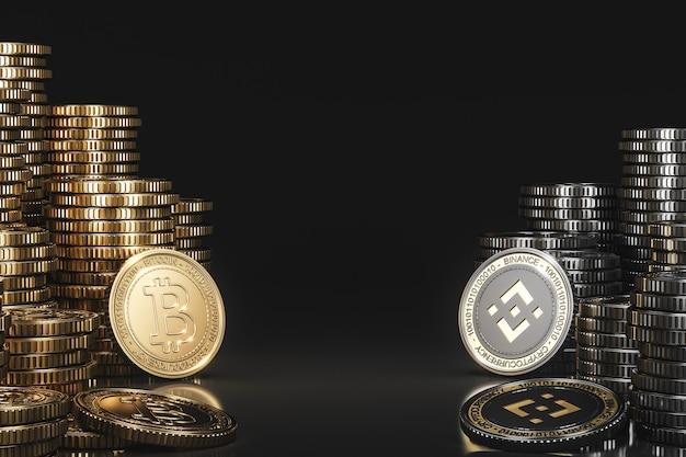 Uma pilha de moedas de criptomoeda entre bitcoin (btc) e binance (bnb) em uma cena negra, moeda de moeda digital para promoção financeira de troca de tokens. renderização 3d