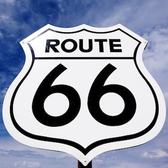 Uma placa antiga, antiga e nostálgica da rota 66