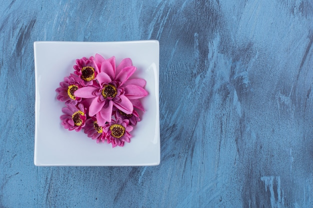 Uma placa branca com flor roxa em azul.