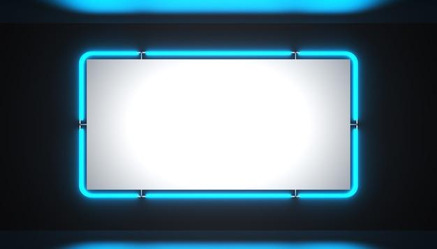 Uma placa de néon azul brilhante em branco sobre um fundo preto está brilhando