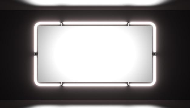 Uma placa de néon em branco brilhante em um fundo preto está brilhando
