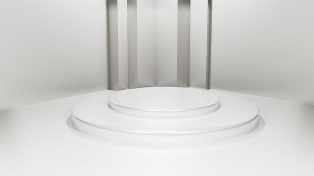 Uma plataforma de exibição 3d cinza para exibição de mercadoria abstrata.