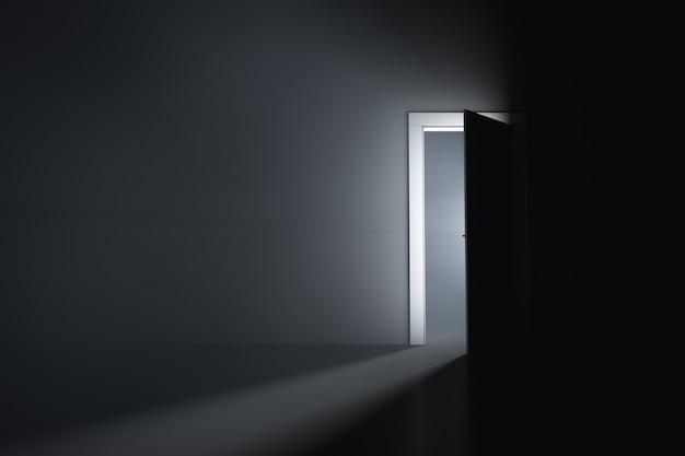 Uma porta ligeiramente aberta em um quarto escuro
