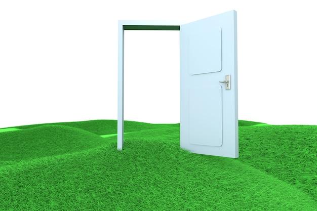 Uma porta nas colinas verdes. ilustração 3d renderizada.