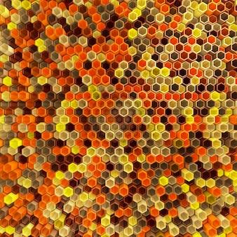 Uma rede de hexágonos matiz amarelo, que mudam de altura fundo