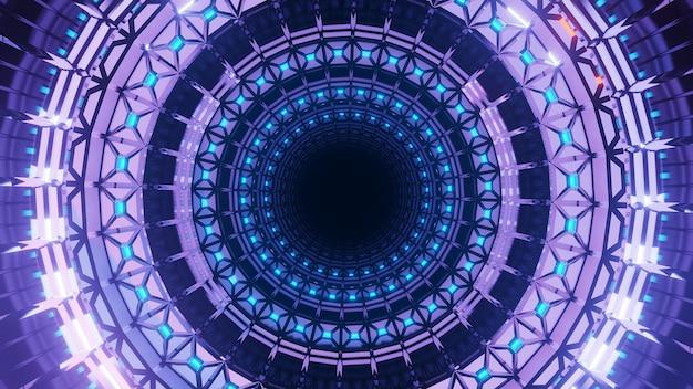 Uma renderização em 3d de um fundo futurista com formas circulares e luzes neon roxas