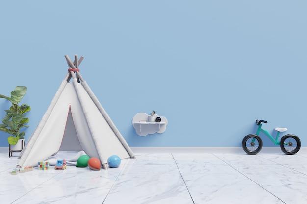 Uma sala de jogos de quarto de crianças vazio com tenda e brinquedo no fundo da parede azul