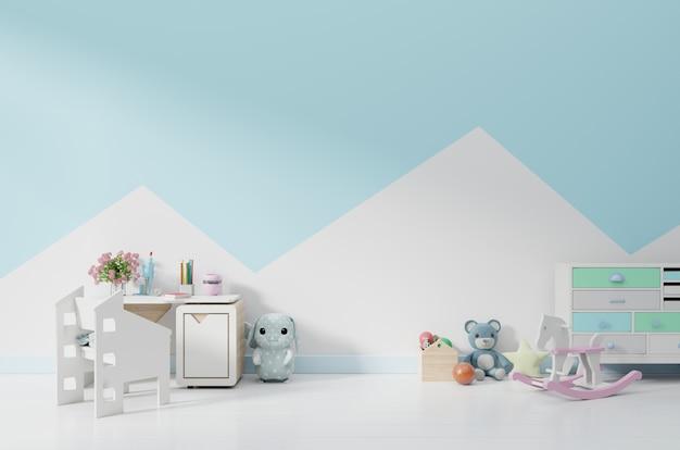Uma sala de jogos infantil vazia com armário e mesa sentado