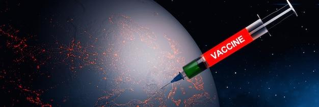 Uma seringa médica com uma agulha vacinou o planeta terra. renderização 3d. elementos desta imagem fornecidos pela nasa.