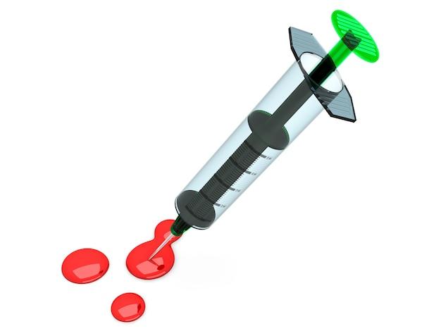 Uma seringa médica. ilustração 3d renderizada. isolado no branco.