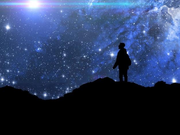 Uma silhueta de uma pessoa em pé no topo da montanha e observar a galáxia do céu. elementos desta imagem fornecidos pela nasa