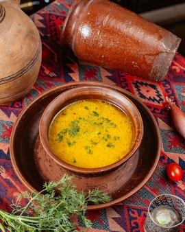 Uma tigela de sopa de legumes, guarnecida com endro