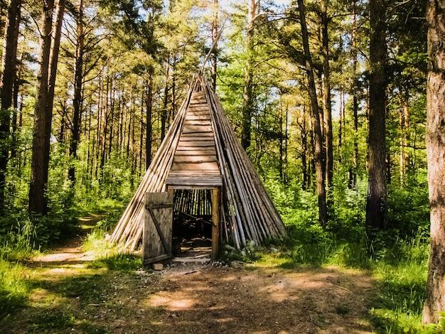 Uma tipi feita com tábuas de madeira dentro da floresta européia, abrigo para a noite.