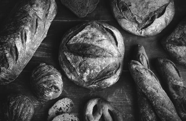 Uma variedade de ideias de receitas de fotografia de comida de pães de pão