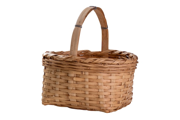 Uma velha cesta feita de bambu.