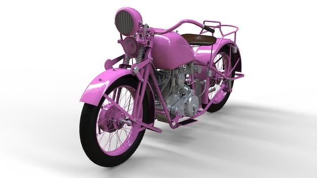 Uma velha motocicleta rosa dos anos 30 do século xx. uma ilustração em um fundo branco com sombras de um avião.
