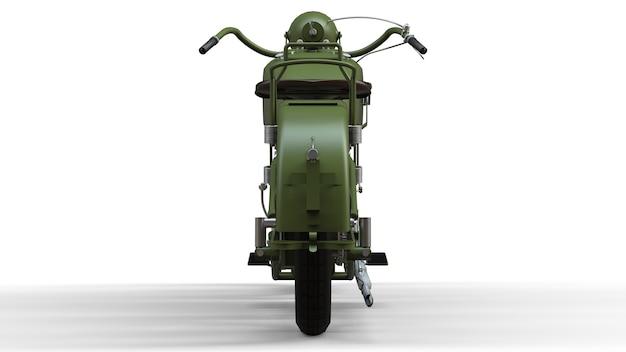 Uma velha motocicleta verde dos anos 30 do século xx. uma ilustração em um fundo branco com sombras de um avião.
