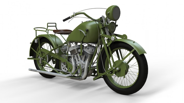 Uma velha motocicleta verde dos anos 30 do século xx.
