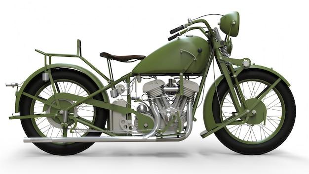 Uma velha motocicleta verde