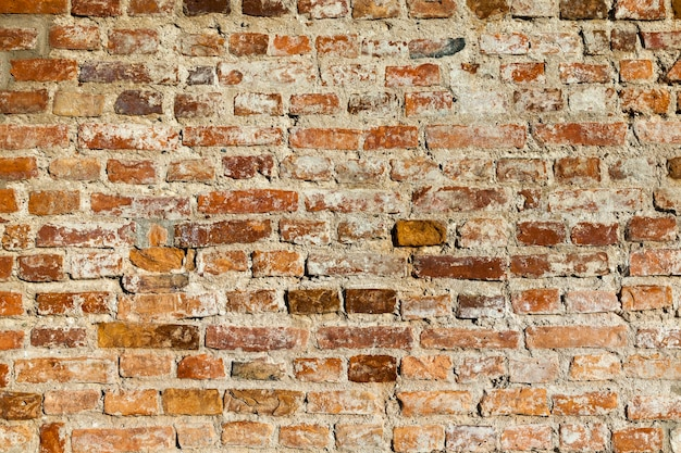 Uma velha parede feita de tijolos de diferentes tipos e tamanhos, um close-up de uma parte da parede feita de alvenaria