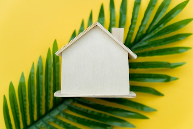 Uma visão aérea da casa de madeira sobre as folhas verdes contra um fundo amarelo