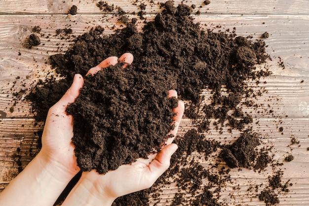 Uma visão elevada da mão de uma pessoa segurando o solo fértil nas mãos sobre a mesa