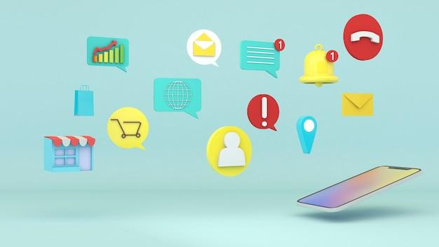 Uma visão geral do uso do celular para várias transações. o celular usa o aplicativo online