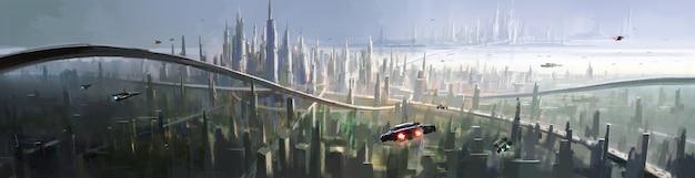 Uma vista aérea da cidade com uma visão futurista.