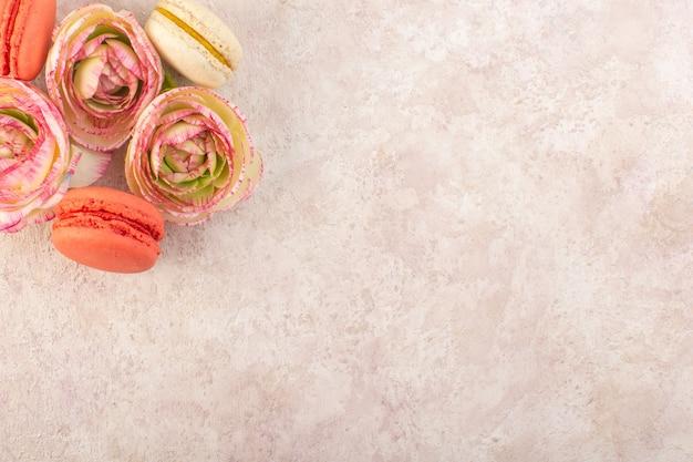 Uma vista de cima, macarons franceses coloridos com rosas murchas na mesa rosa, biscoito doce com açúcar