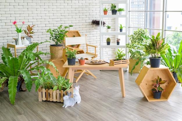 Uma vista do jardim interno em uma casa moderna, jardinagem doméstica e conceito de passatempo.