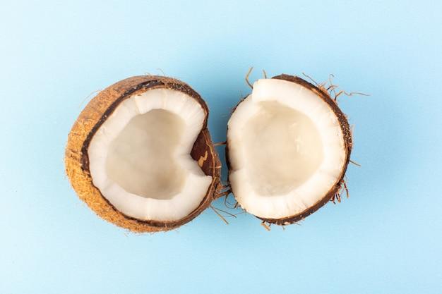 Uma vista superior coco nozes em fatias leitosas maduras frescas isoladas no azul gelado