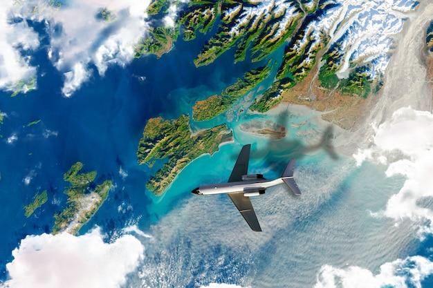 Uma vista superior da superfície da terra vista do espaço, foto de satélite com avião a voar.