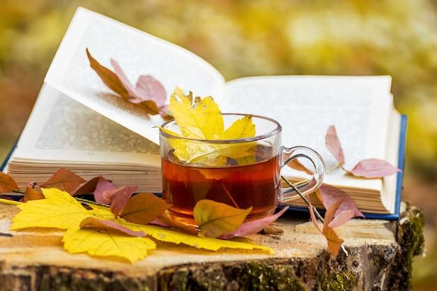 Uma xícara de chá e folhas amarelas de outono perto do livro aberto na floresta de outono