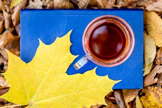 Uma xícara de chá e uma folha de bordo amarela em um livro na floresta de outono, a vista de cima