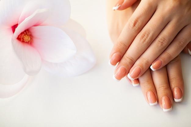 Unhas de mulher bonita com manicure francesa, no estúdio de beleza
