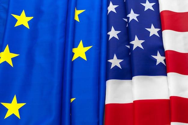 União europeia e bandeira americana. negócio, e, política, conceito