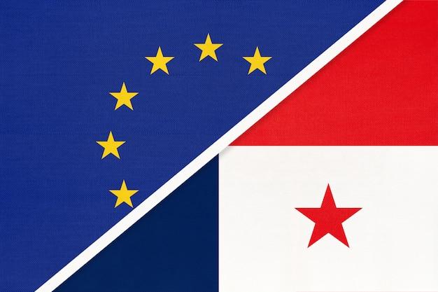 União europeia ou ue e bandeira nacional do panamá de têxteis.