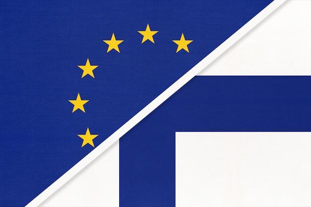 União europeia ou ue vs bandeira nacional da finlândia