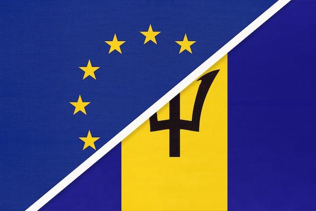 União europeia ou ue vs bandeira nacional de barbados