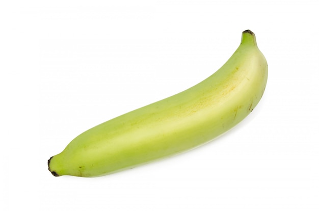 Única banana isolada no fundo branco.