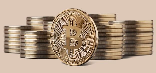 Única moeda de bitcoin ou ícone em frente a pilhas de moedas em um fundo bege. conceito de criptomoeda e blockchain, pode ser usado para vídeo ou capa do site