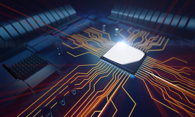 Unidade central do processador de visão macro na placa-mãe