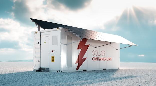 Unidade de contêiner solar. conceito de renderização 3d de um recipiente de armazenamento de energia de bateria industrial branca com painéis solares pretos montados, situados no cascalho branco em uma paisagem vazia em tempo ensolarado.