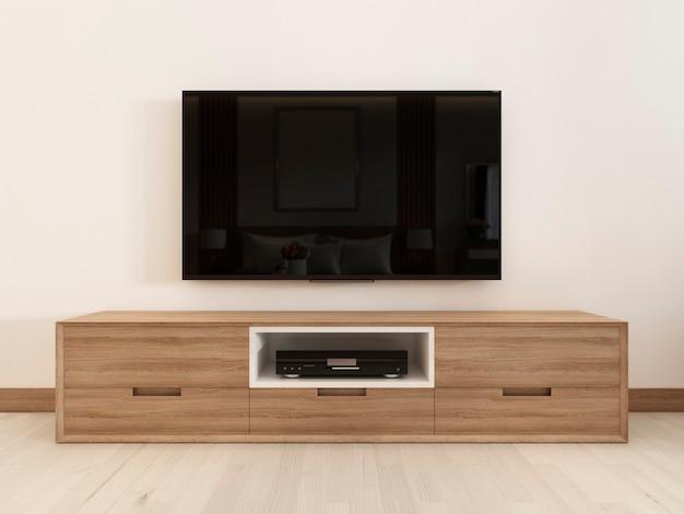 Unidade de tv moderna em um quarto escandinavo. renderização 3d