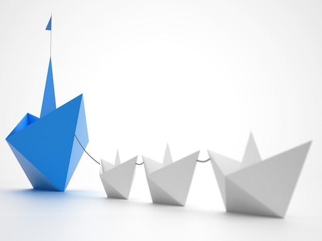 Unidade é força. pequenos barcos de papel que rebocam um navio maior. conceito de trabalho em equipe e aliança. renderização 3d