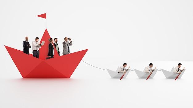 Unidade é força. trabalhadores que fazem a empresa avançar. conceito de trabalho em equipe e aliança. renderização 3d
