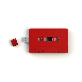 Unidade flash usb em cassete de áudio vermelha vintage