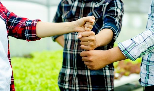 Unidade, trabalho em equipe unidade grupo unidade de poder da mente coloque suas mãos em uma linha vertical, mostrando determinação e energia. conceito de trabalho em equipe
