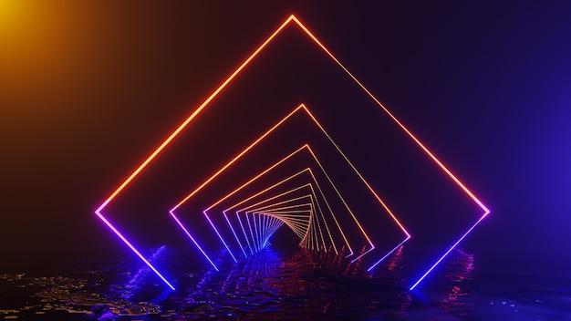 Universo de fantasia e fundo do corredor espacial, renderização em 3d
